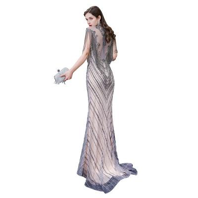 High Neck Short Sleeves Sheer Beaded Fitted Glittering Prom Dresses_10
