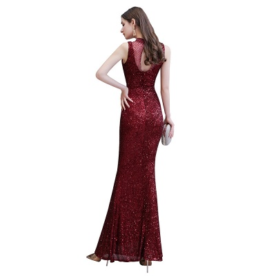 High Neck Sleeveless Floor Length Sparkly Sequin Fitted Prom Dresses_12