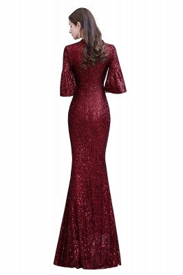 Jewel Keyhole Half Sleeves Floor Length Sequin Burgundy Prom Dresses_14