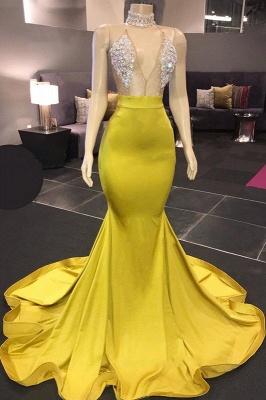Yellow Sleeveless Floor Length Crystals Sheer Sparkly Sexy Mermaid Prom Dresses_1