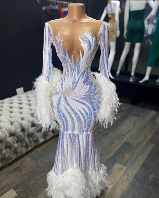 Bateau Neckline Long Sleeves Gorgeous Mermaid Feather Prom Dresses_2
