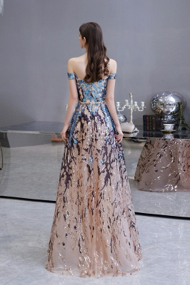 Off the Shoulder Sweetheart Beaded Belted Sparkly A-line Prom Dresses_10