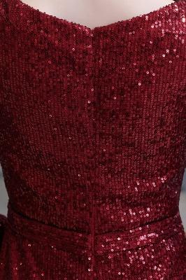 V-neck Long Sleeves Fitted Floor Length Burgundy Sequin Prom Dresses_16