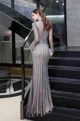 High Neck Long Sleeves Sheer Beaded Sexy Fitted Prom Dresses_10