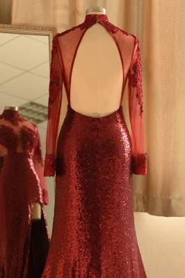 Burgundy High Neck Open Back Long Sleeve Applique Sequin Side Slit Sheath Prom Dresses_6