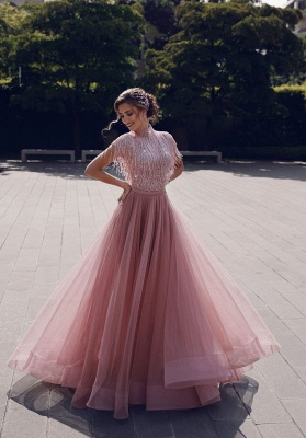 Jewel Short Sleeves Floor Length  A-line Pink Princess Prom Dresses with Fringes_6