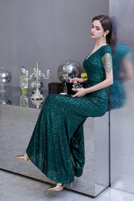 V-neck Cap Sleeves Floor Length Emerald Fitted Sequin Prom Dresses_16