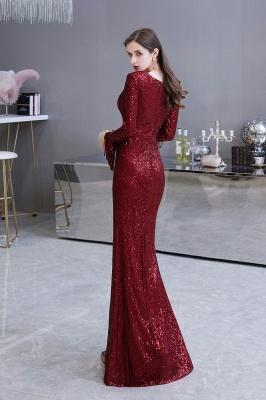 V-neck Long Sleeves Fitted Floor Length Burgundy Sequin Prom Dresses_26