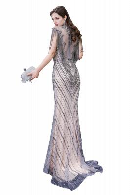 High Neck Short Sleeves Sheer Beaded Fitted Glittering Prom Dresses_14