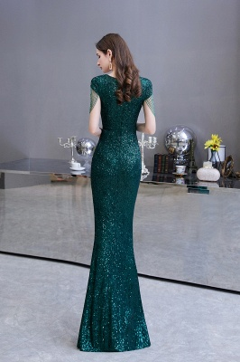 V-neck Cap Sleeves Floor Length Emerald Fitted Sequin Prom Dresses_7