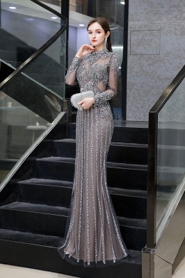 High Neck Long Sleeves Sheer Beaded Sexy Fitted Prom Dresses_6