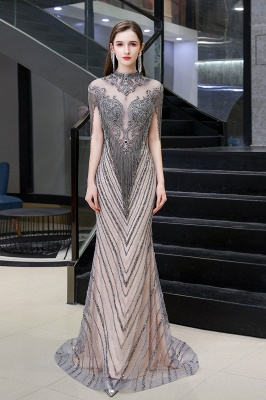 High Neck Short Sleeves Sheer Beaded Fitted Glittering Prom Dresses_2