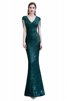 V-neck Cap Sleeves Floor Length Emerald Fitted Sequin Prom Dresses_1