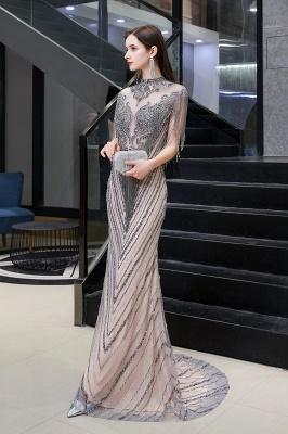 High Neck Short Sleeves Sheer Beaded Fitted Glittering Prom Dresses_9