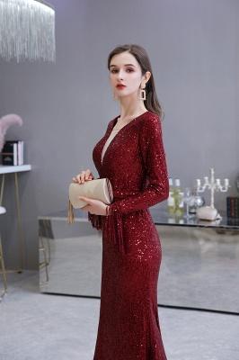 V-neck Long Sleeves Fitted Floor Length Burgundy Sequin Prom Dresses_17