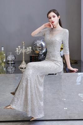Jewel Neck Half Sleeves Open Back Floor Length Glitter Fitted Prom Dresses_16