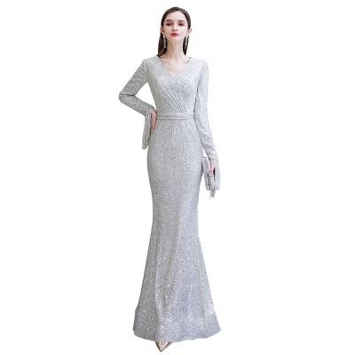 V-neck Long Sleeves Fitted Floor Length Burgundy Sequin Prom Dresses_24
