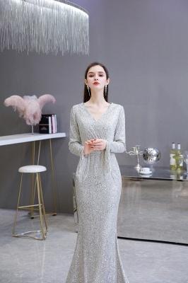 V-neck Long Sleeves Fitted Floor Length Burgundy Sequin Prom Dresses_6