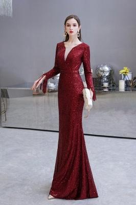 V-neck Long Sleeves Fitted Floor Length Burgundy Sequin Prom Dresses_25