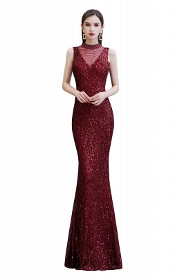 High Neck Sleeveless Floor Length Sparkly Sequin Fitted Prom Dresses_1