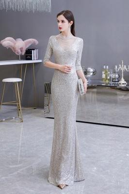 Jewel Neck Half Sleeves Open Back Floor Length Glitter Fitted Prom Dresses_14