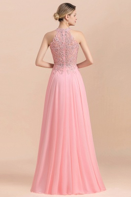 Halter Full Back Applique Beaded Pearls Chiffon A Line Prom Dresses_18