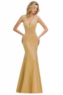 Glittery Deep V-neck Sleeveless Pink Floor-length Long Evening Dresses_3