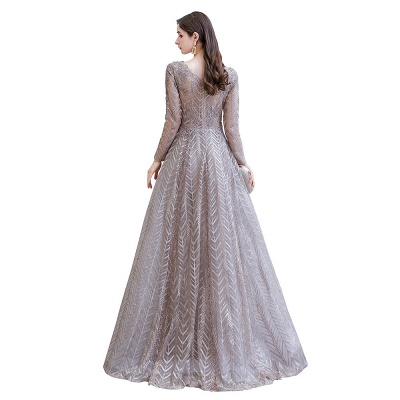 V-neck Long Sleeves Floor Length Lace A-line Gorgeous Prom Dresses_14