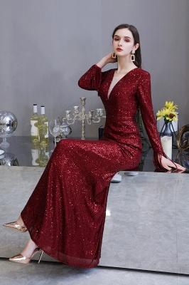 V-neck Long Sleeves Fitted Floor Length Burgundy Sequin Prom Dresses_22