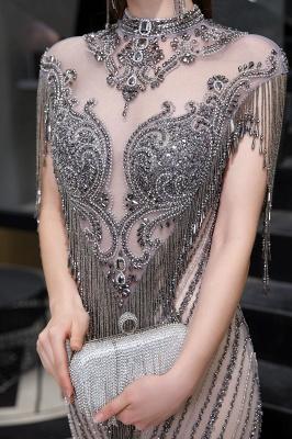 High Neck Short Sleeves Sheer Beaded Fitted Glittering Prom Dresses_12