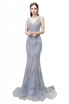 High Neck Half Sleeves Beaded Tulle Belted Fitted Prom Dresses_13