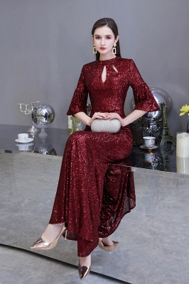 Jewel Keyhole Half Sleeves Floor Length Sequin Burgundy Prom Dresses_6