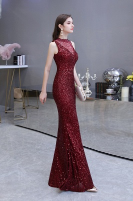 High Neck Sleeveless Floor Length Sparkly Sequin Fitted Prom Dresses_13