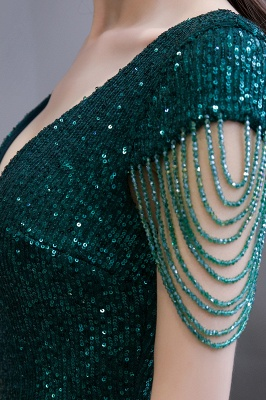 V-neck Cap Sleeves Floor Length Emerald Fitted Sequin Prom Dresses_13