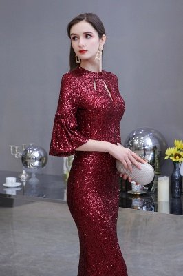 Jewel Keyhole Half Sleeves Floor Length Sequin Burgundy Prom Dresses_3
