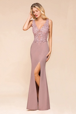 Dusty Pink Mermaid Lace Prom Dress Long Sleeveless Evening Gowns_10