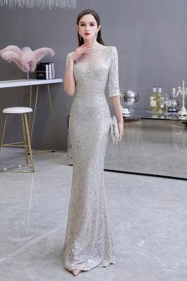 Jewel Neck Half Sleeves Open Back Floor Length Glitter Fitted Prom Dresses_2