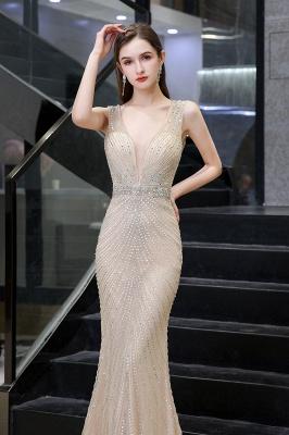 V-neck Cap Sleeves Floor Length Crystal Belt Fitted Prom Dresses_17