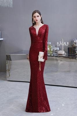 V-neck Long Sleeves Fitted Floor Length Burgundy Sequin Prom Dresses_3