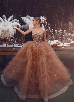 Gorgeous Strapless Sweetheart Tulle Ball Gown Champagne Prom Dresses_1