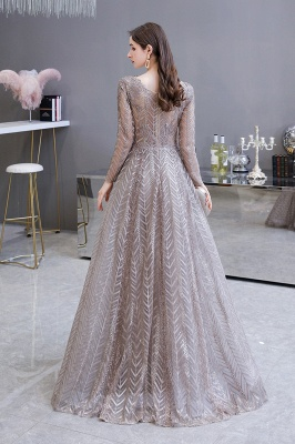 V-neck Long Sleeves Floor Length Lace A-line Gorgeous Prom Dresses_7