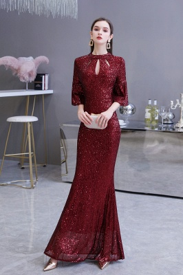 Jewel Keyhole Half Sleeves Floor Length Sequin Burgundy Prom Dresses_5