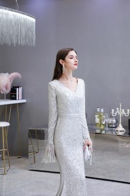 V-neck Long Sleeves Fitted Floor Length Burgundy Sequin Prom Dresses_11
