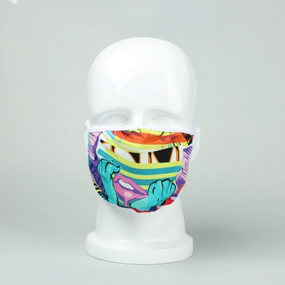 Endorsed Print Face Masks washable ultraviolet-proof Dustproof Respirator Riding Cycling Sports Print Mouth Masks Outdoor (5 Inserts/1 piece)