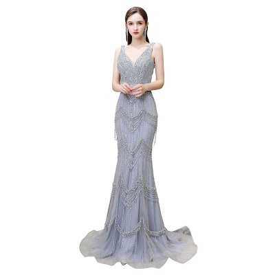 High Neck Half Sleeves Beaded Tulle Belted Fitted Prom Dresses_8