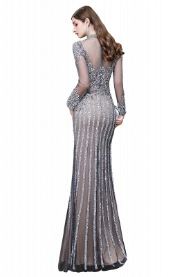 High Neck Long Sleeves Sheer Beaded Sexy Fitted Prom Dresses_15