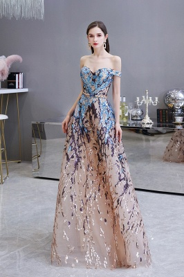 Off the Shoulder Sweetheart Beaded Belted Sparkly A-line Prom Dresses_3