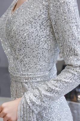V-neck Long Sleeves Fitted Floor Length Burgundy Sequin Prom Dresses_13