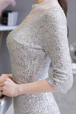 Jewel Neck Half Sleeves Open Back Floor Length Glitter Fitted Prom Dresses_10