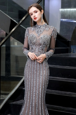 High Neck Long Sleeves Sheer Beaded Sexy Fitted Prom Dresses_9